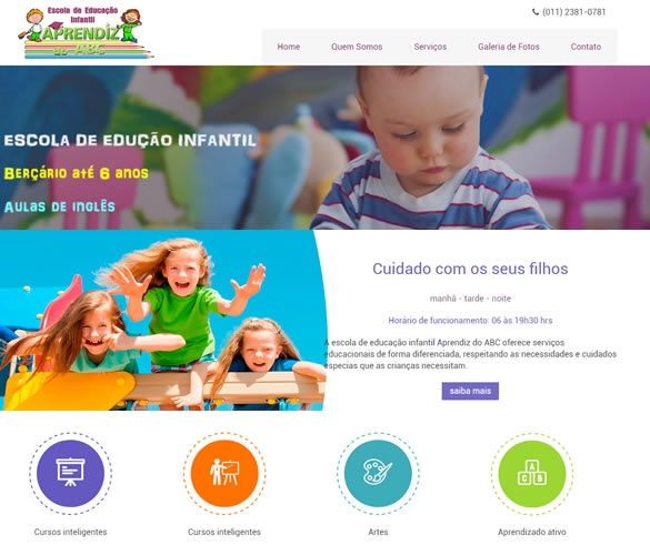 Criação de site para Escola Infantil Aprendiz do ABC