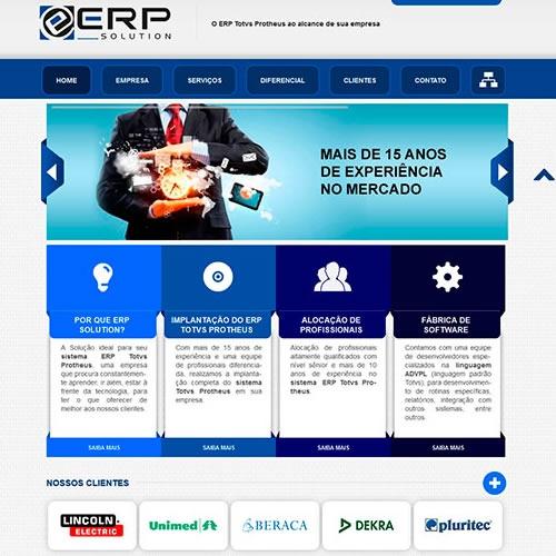 Criação e otimização do site ERP Solution