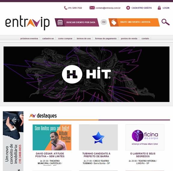 Criação de site para venda de ingressos Entra Vip