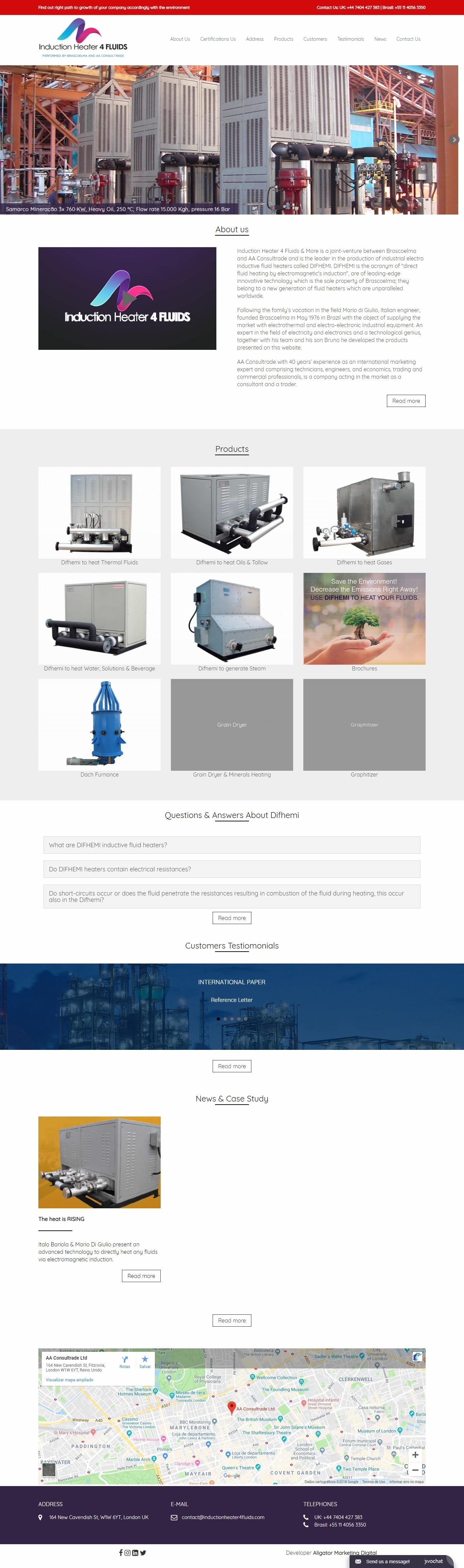 Criação de Site para Indústria: Induction Heater 4 Fluids