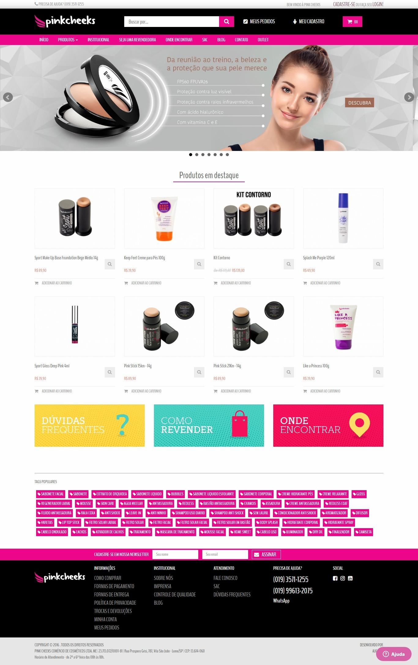 Criação de Loja Virtual para Pink Cheeks