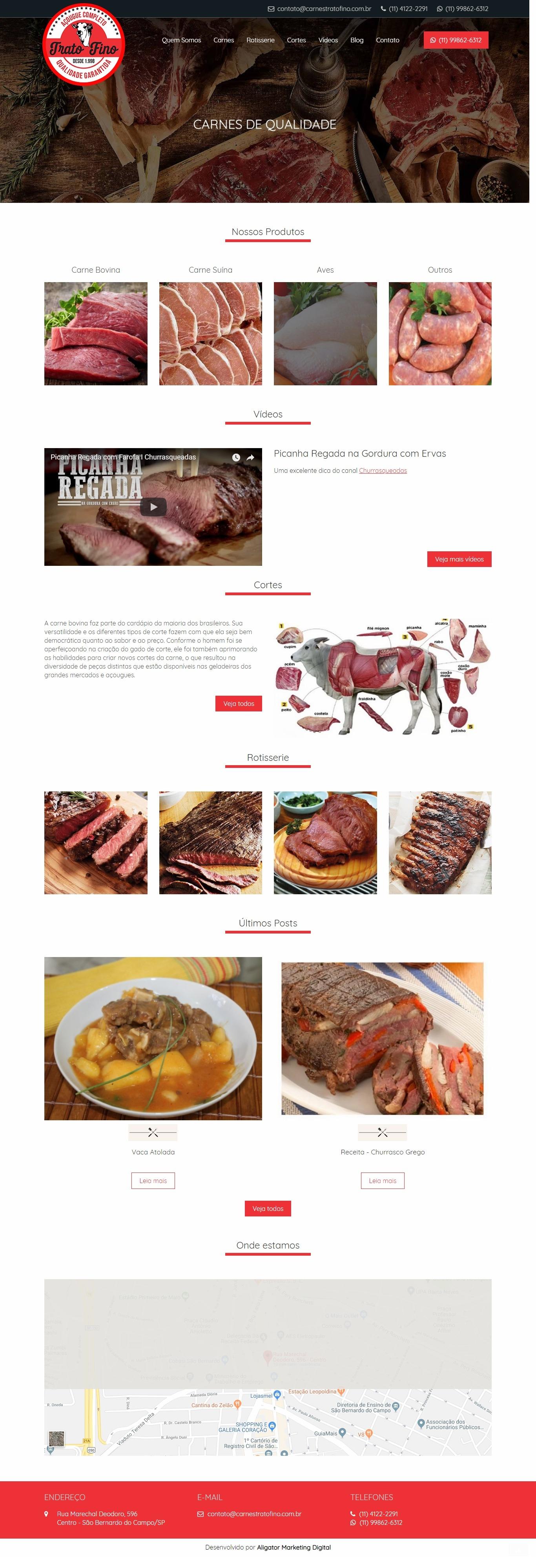 Criação de site para Açougue - Carnes Trato Fino