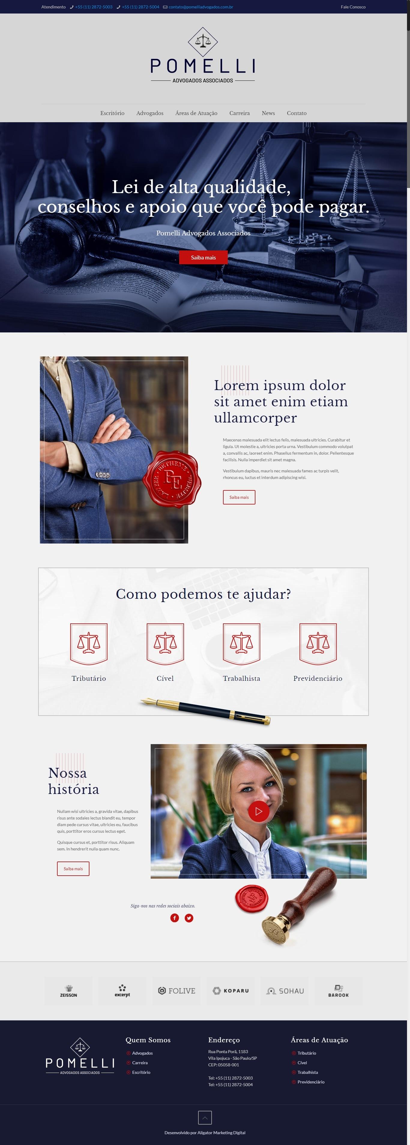 Criação de site para Escritório de Advocacia Pomelli Advogados