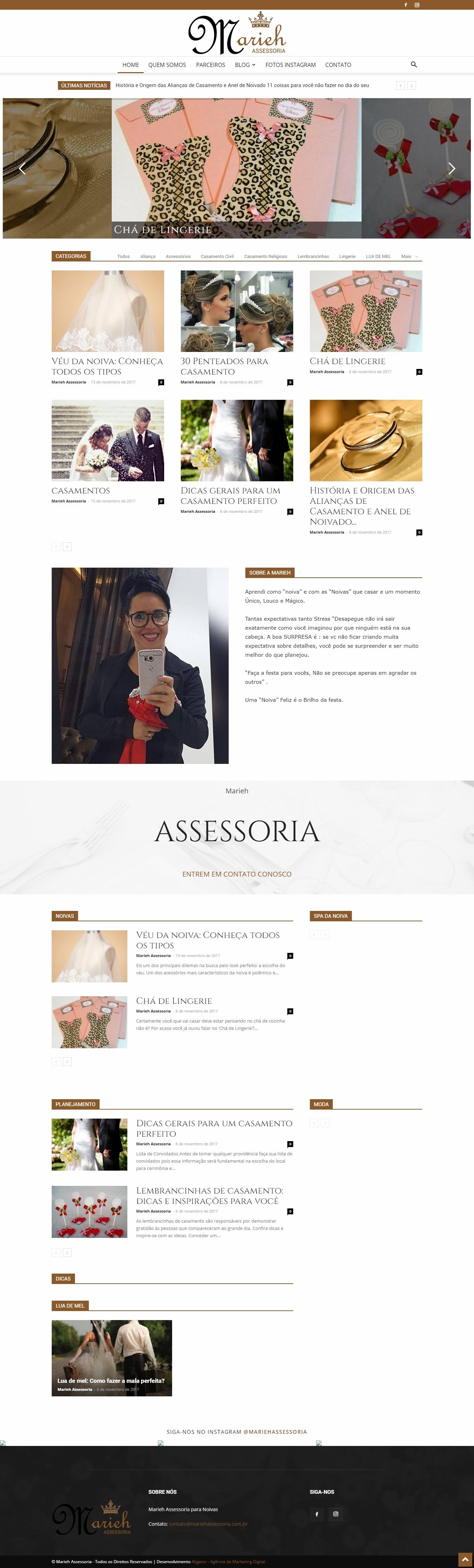 Criação de site em WordPress para Marieh Assessoria